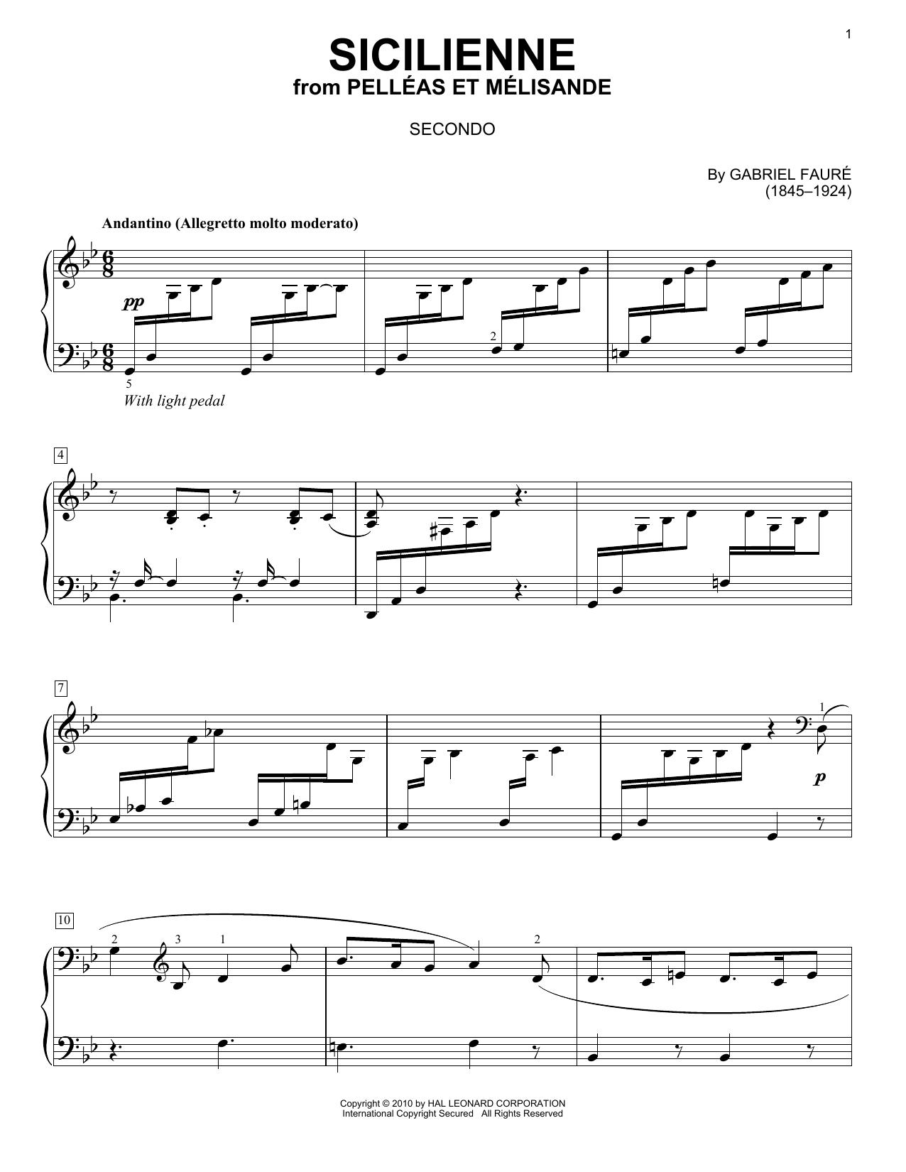 Partition piano Sicilienne de Gabriel Faure - 4 mains