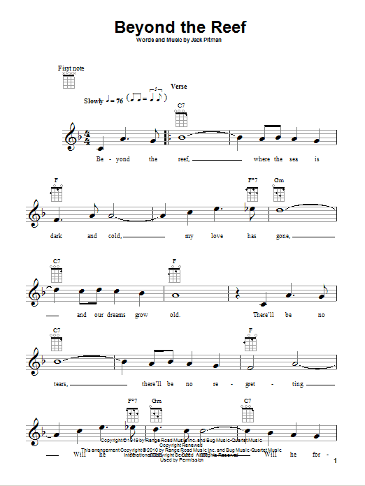 Beyond The Reef sheet music for ukulele by Jack Pitman