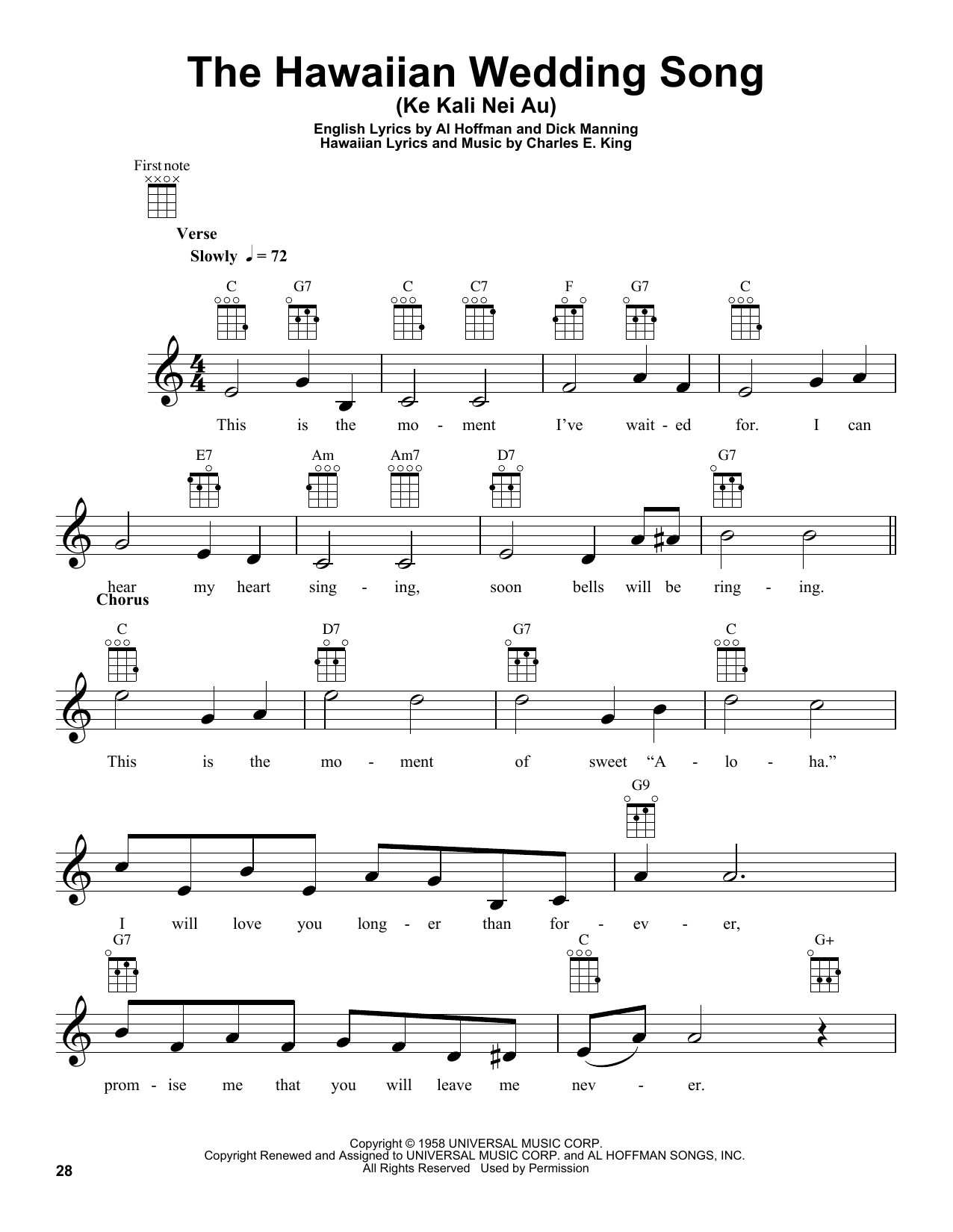 The Hawaiian Wedding Song (Ke Kali Nei Au) sheet music for ukulele by Dick Manning