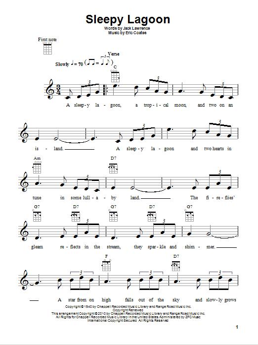 Sleepy Lagoon sheet music for ukulele by Jack Lawrence