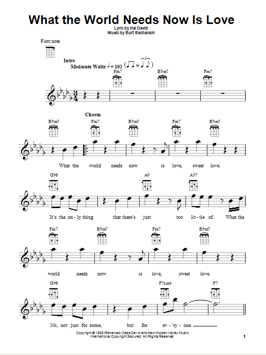 Tablature guitare What The World Needs Now Is Love de Bacharach & David - Ukulele