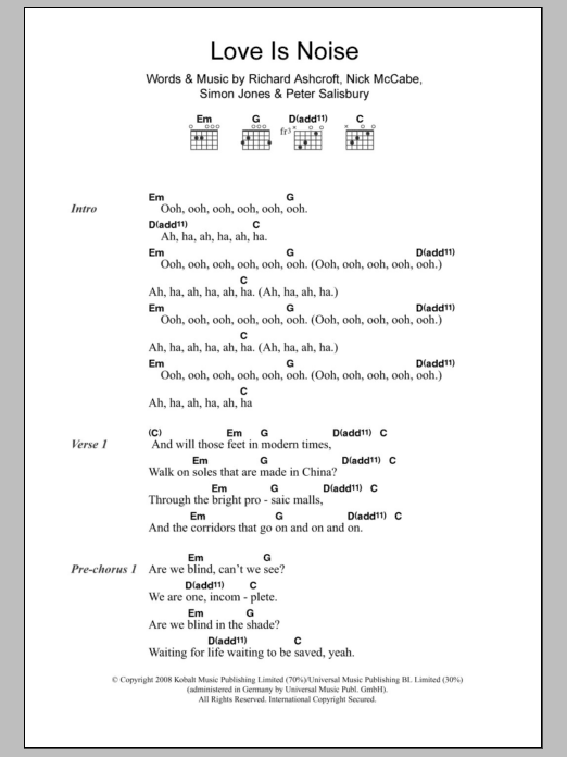Love Is Noise sheet music for guitar solo (chords, lyrics, melody) by Simon Jones