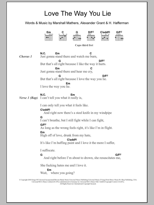 Love The Way You Lie sheet music for guitar solo (chords, lyrics, melody) by Marshall Mathers