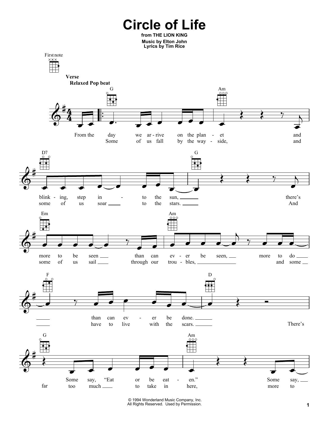 Tablature guitare Circle Of Life de Elton John - Ukulele