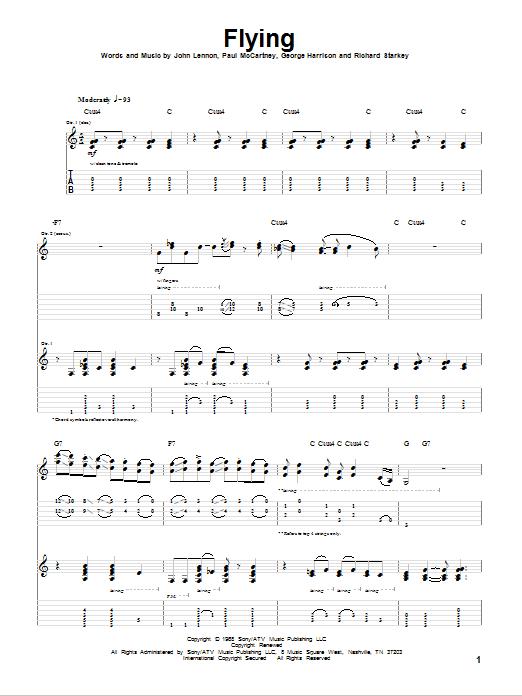 Tablature guitare Flying de The Beatles - Tablature Guitare