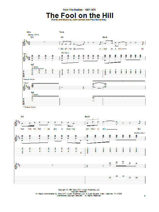 Tablature guitare The Fool On The Hill de The Beatles - Tablature Guitare