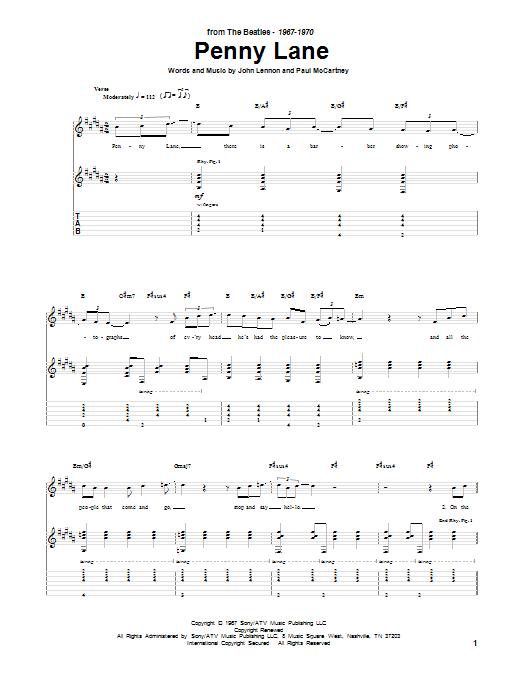Tablature guitare Penny Lane de The Beatles - Tablature Guitare