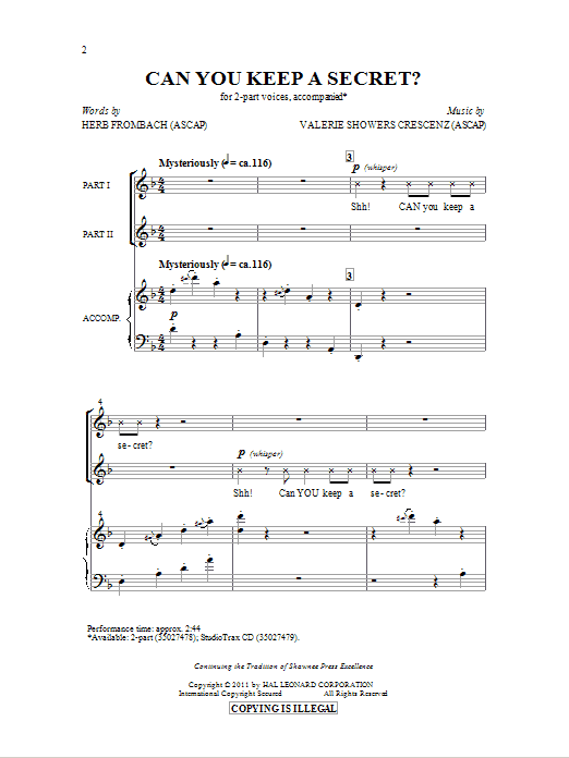 Partition chorale Can You Keep A Secret? de Herb Frombach - 2 voix