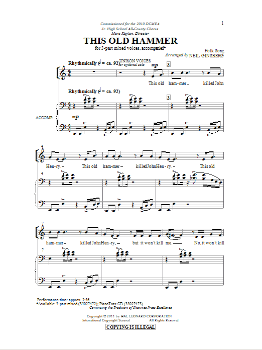 Partition chorale This Old Hammer de Neil Ginsberg - 3 voix mixtes