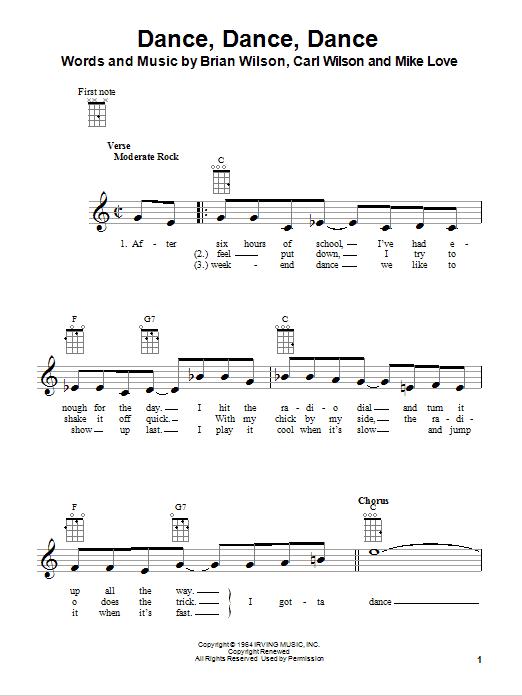 Tablature guitare Dance, Dance, Dance de The Beach Boys - Ukulele