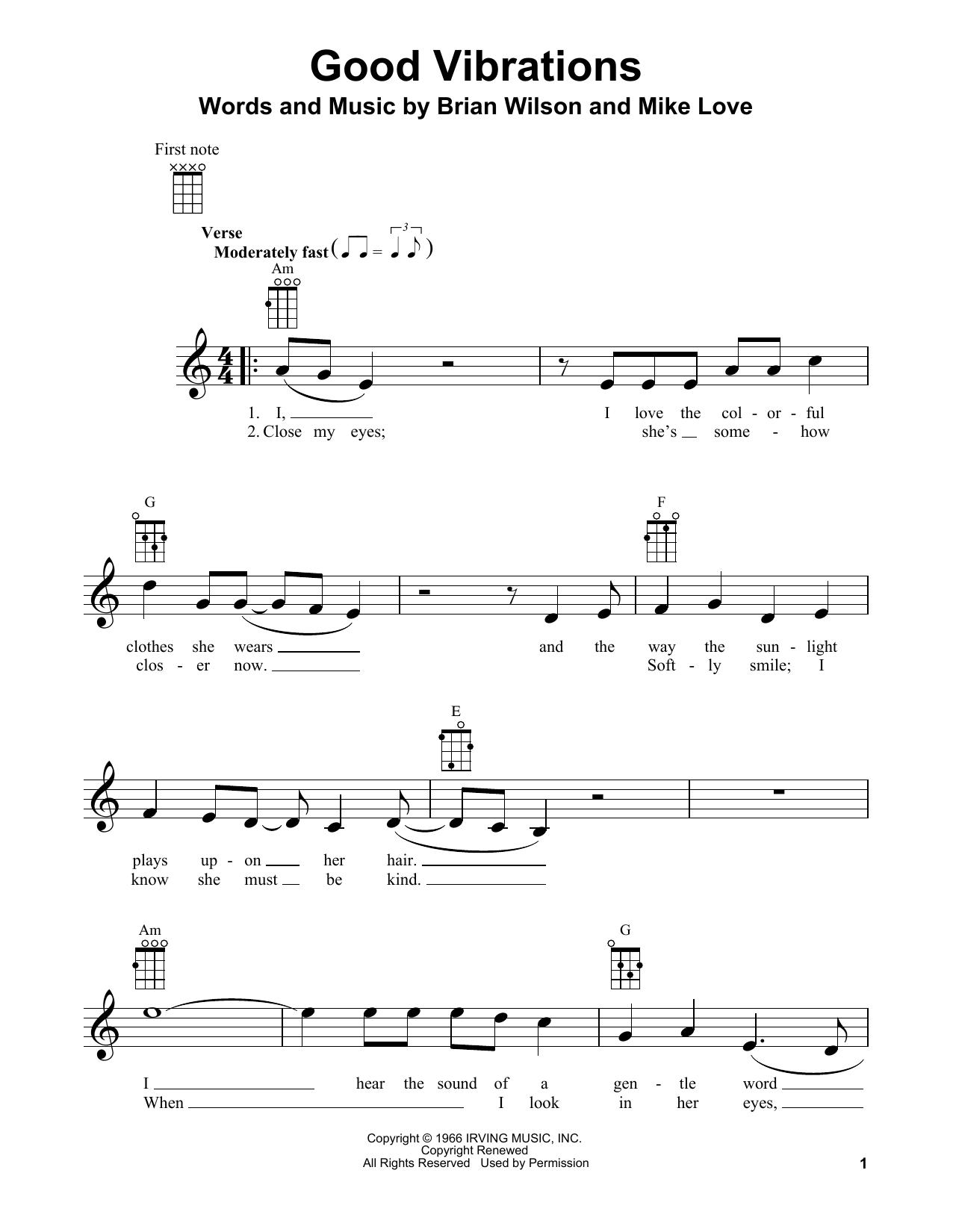 Tablature guitare Good Vibrations de The Beach Boys - Ukulele