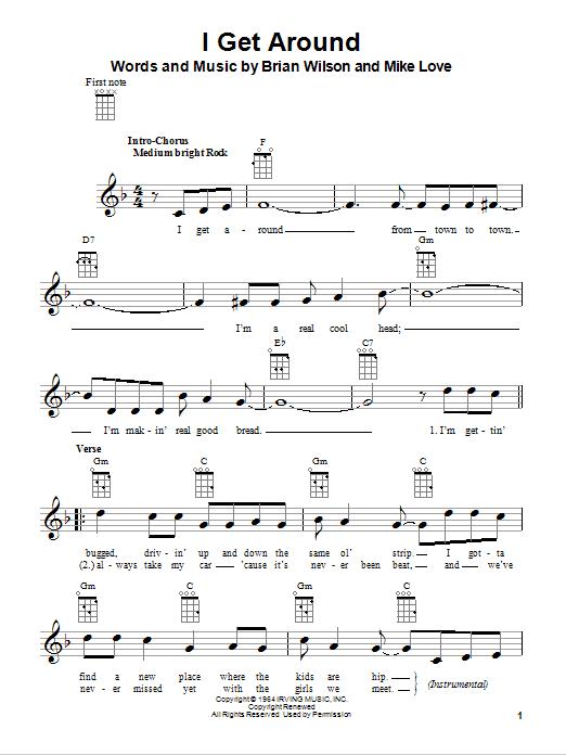 Tablature guitare I Get Around de The Beach Boys - Ukulele