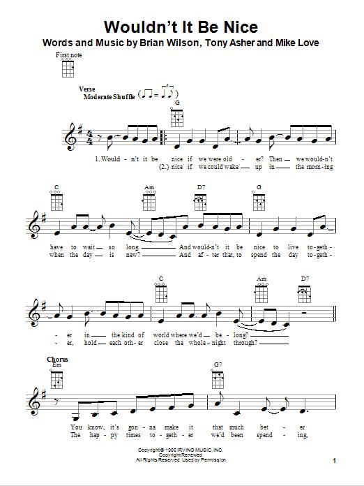 Tablature guitare Wouldn't It Be Nice de The Beach Boys - Ukulele