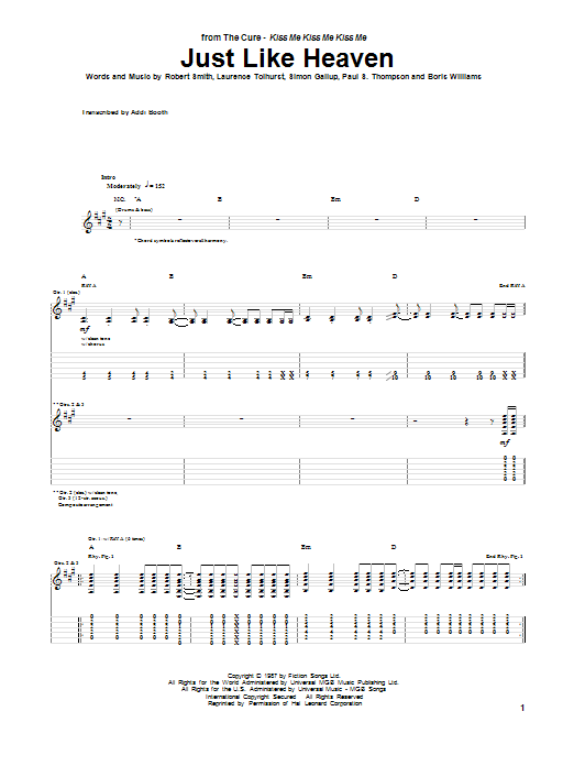 Tablature guitare Just Like Heaven de The Cure - Tablature Guitare