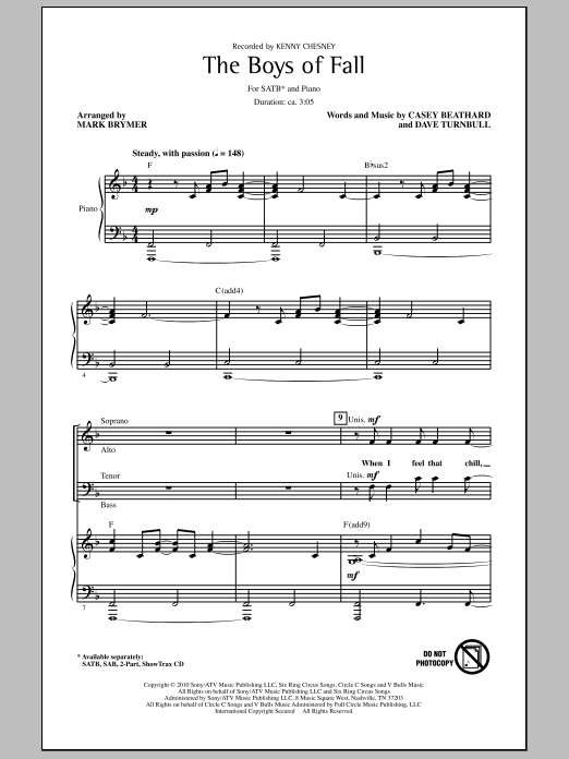The Boys Of Fall sheet music for choir and piano (SATB) by Casey Beathard