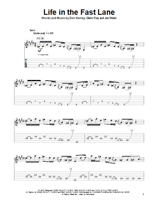 Tablature guitare Life In The Fast Lane de The Eagles - Tablature Guitare