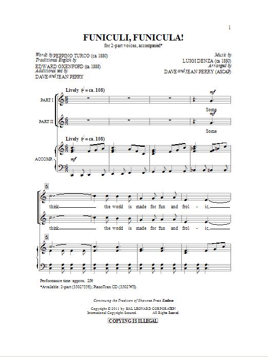 Partition chorale Funiculi, Funicula de Dave Perry - 2 voix