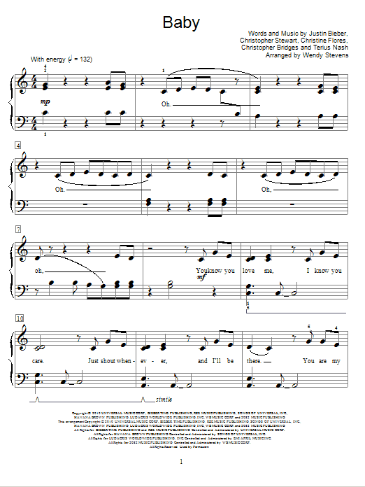 Baby sheet music for piano solo (elementary) by Terius Nash