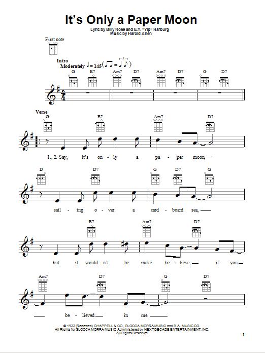 Tablature guitare It's Only A Paper Moon de E.Y. Harburg - Ukulele