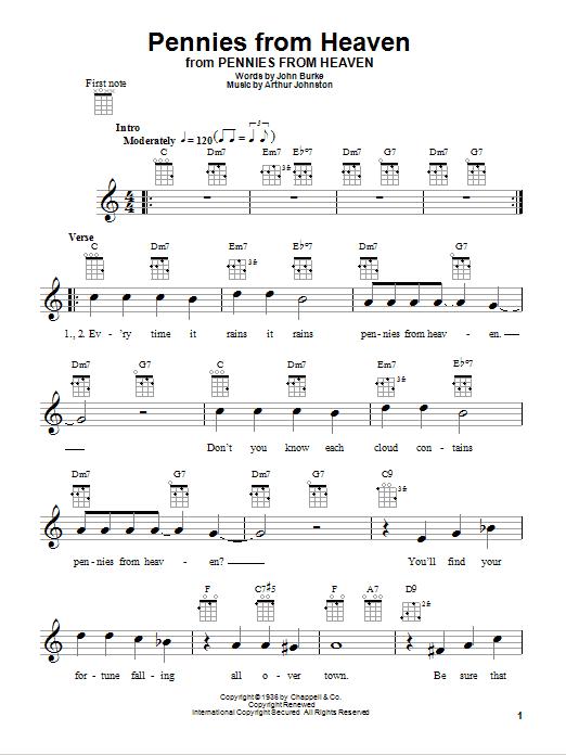 Tablature guitare Pennies From Heaven de Bing Crosby - Ukulele