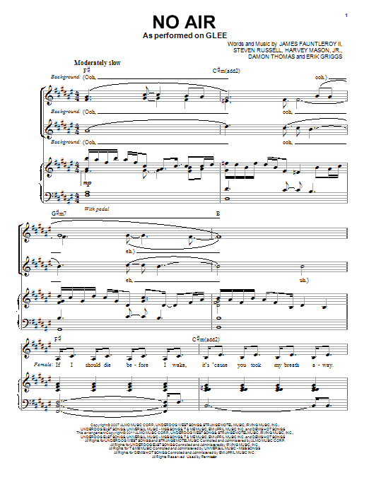 No Air (Vocal Duet) sheet music for voice and piano by Steven Russell