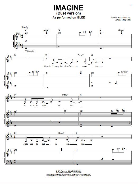 Partition piano Imagine (Vocal Duet) de Glee Cast - Piano Voix