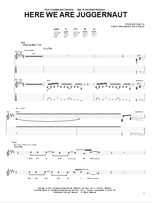 Tablature guitare Here We Are Juggernaut de Coheed And Cambria - Tablature Guitare
