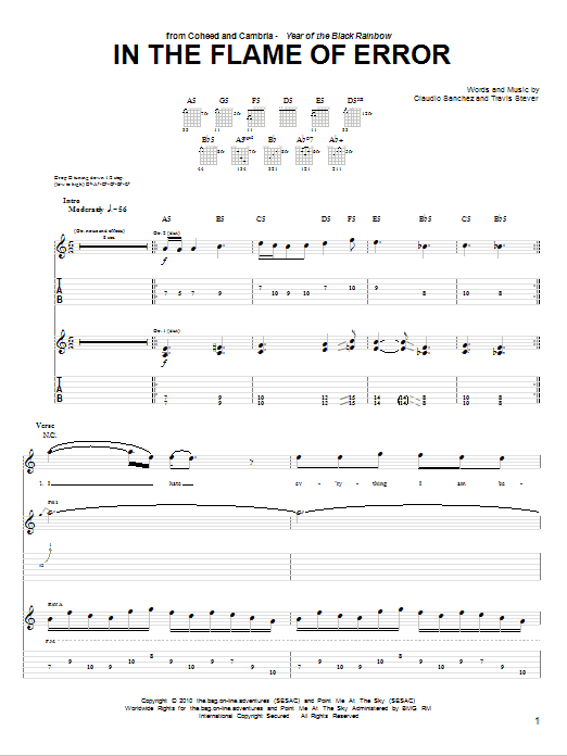 In The Flame Of Error sheet music for guitar solo (tablature) by Travis Stever