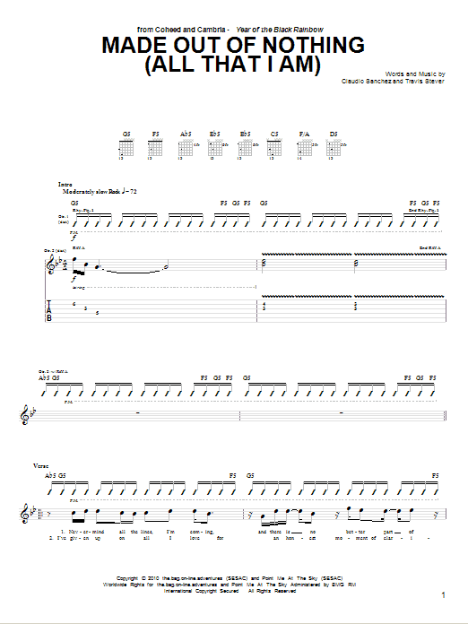 Tablature guitare Made Out Of Nothing (All That I Am) de Coheed And Cambria - Tablature Guitare