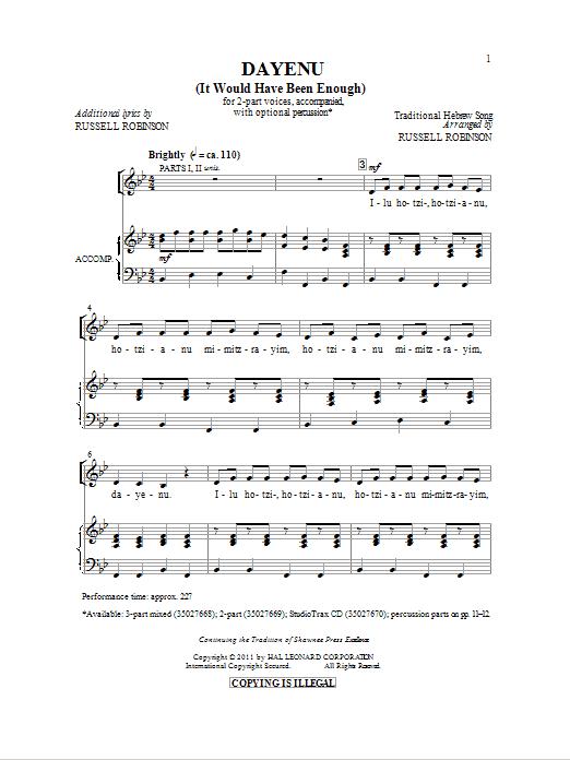 Partition chorale Dayeinu de Russell Robinson - 2 voix