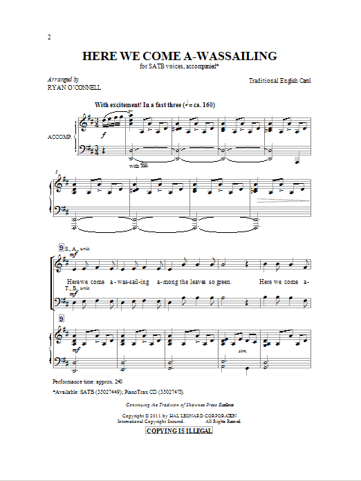 Partition chorale Here We Come A-Wassailing de Ryan O'Connell - SATB