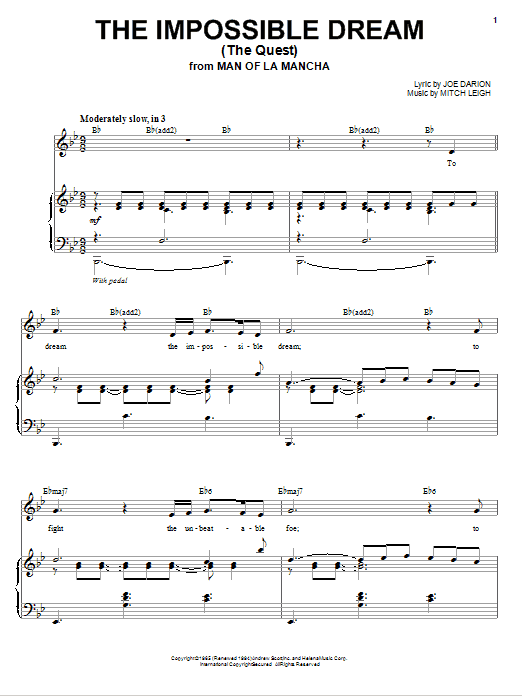 Partition piano The Impossible Dream (The Quest) de Andy Williams - Piano Voix