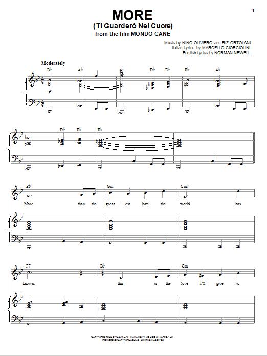 Partition piano More (Ti Guardero Nel Cuore) de Andy Williams - Piano Voix