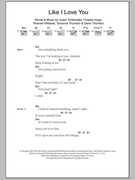 Like I Love You sheet music for guitar solo (chords, lyrics, melody) by Terrence Thornton