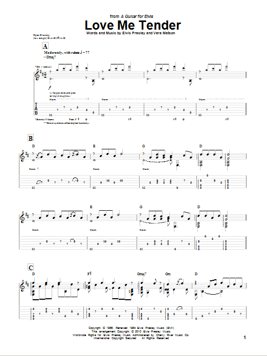 Tablature guitare Love Me Tender de Brooks Williams - Tablature Guitare