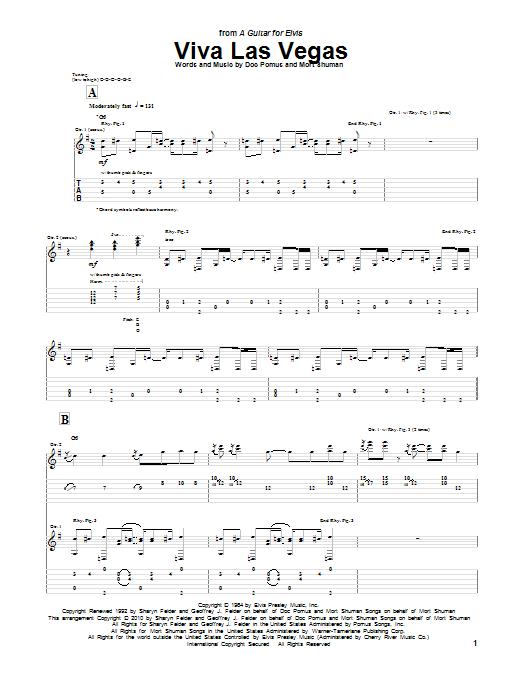 Tablature guitare Viva Las Vegas de Elvis Presley - Tablature Guitare