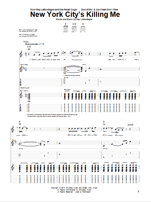 New York City's Killing Me sheet music for guitar solo (tablature) by Ray LaMontagne and The Pariah Dogs