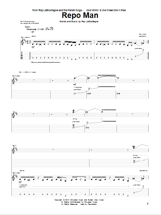 Repo Man sheet music for guitar solo (tablature) by Ray LaMontagne and The Pariah Dogs