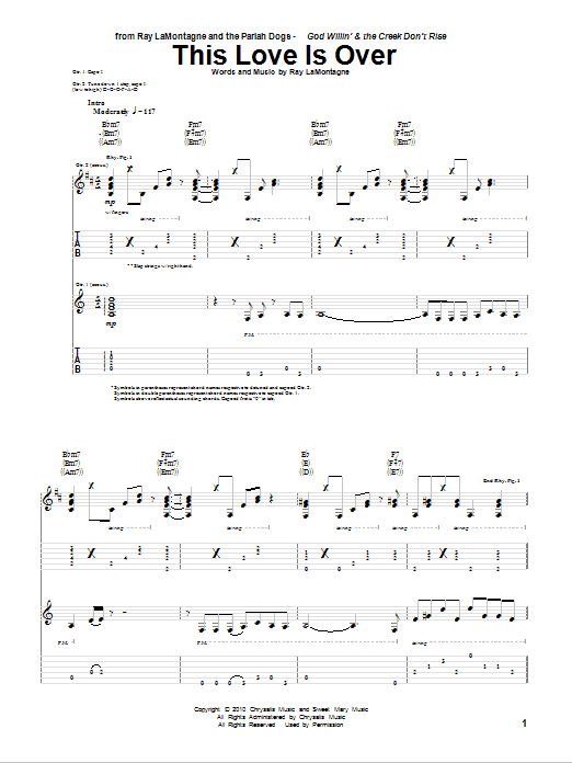 This Love Is Over sheet music for guitar solo (tablature) by Ray LaMontagne and The Pariah Dogs