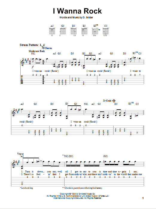 I Wanna Rock sheet music by Twisted Sister (Easy Guitar Tab u2013 77326)