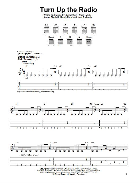Tablature guitare Turn Up The Radio de Autograph - Tablature guitare facile
