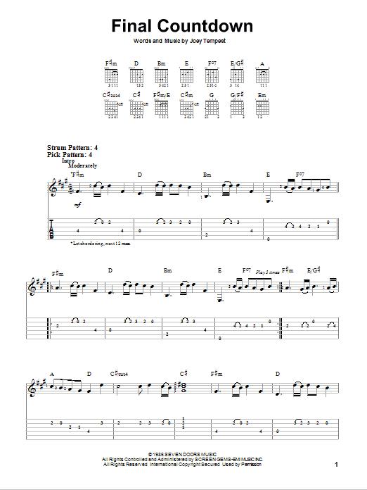 Tablature guitare Final Countdown de Europe - Tablature guitare facile