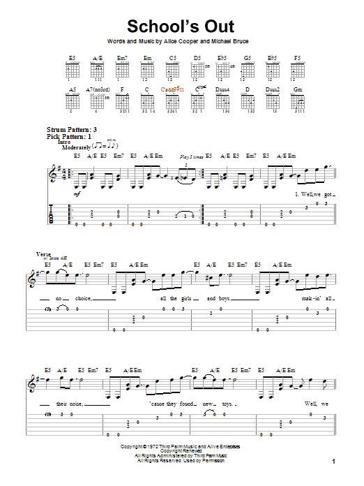 Tablature guitare School's Out de Alice Cooper - Tablature guitare facile