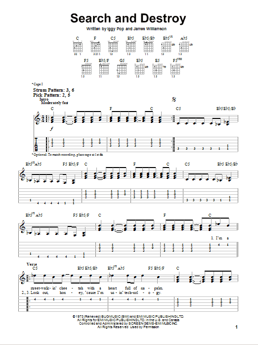 Search And Destroy sheet music for guitar solo (easy tablature) by James Williamson