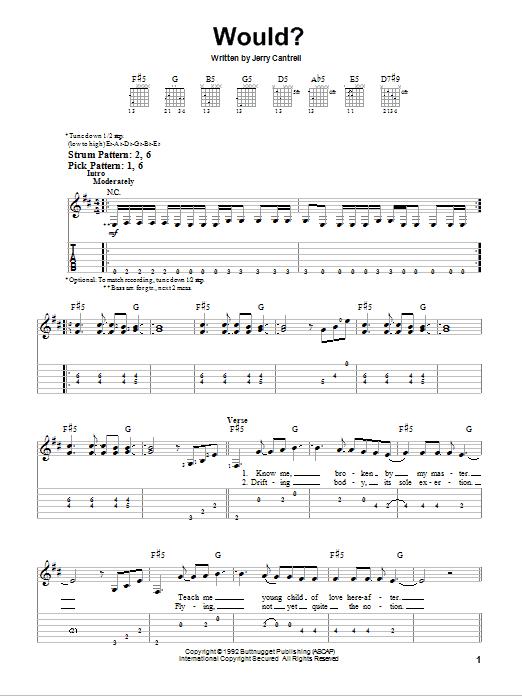 Tablature guitare Would? de Alice In Chains - Tablature guitare facile