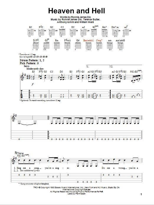 Tablature guitare Heaven And Hell de Black Sabbath - Tablature guitare facile