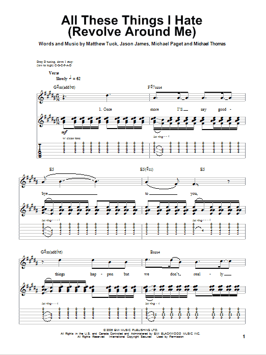 Tablature guitare All These Things I Hate (Revolve Around Me) de Bullet For My Valentine - Tablature Guitare