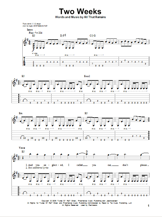 Tablature guitare Two Weeks de All That Remains - Tablature Guitare