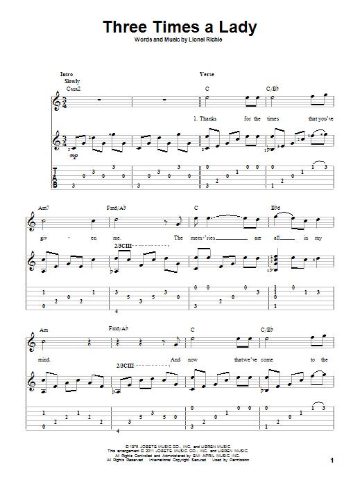 Tablature guitare Three Times A Lady de The Commodores - Tablature Guitare