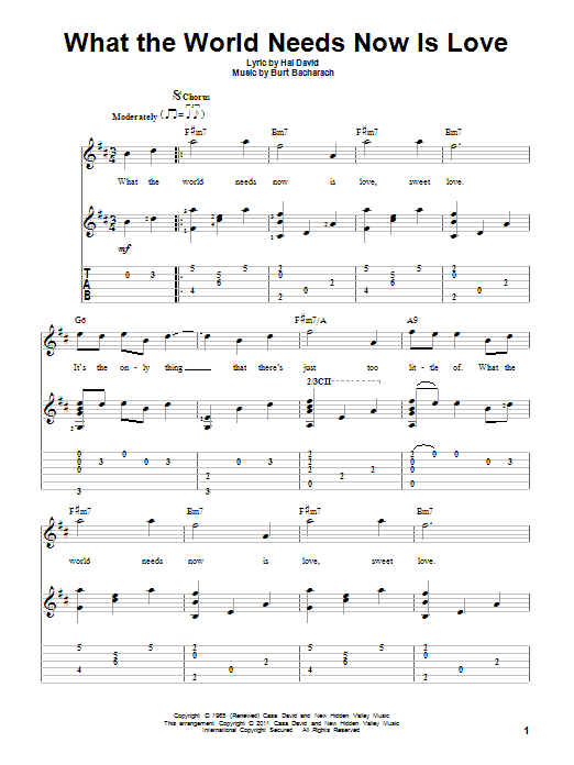 Tablature guitare What The World Needs Now Is Love de Bacharach & David - Tablature Guitare